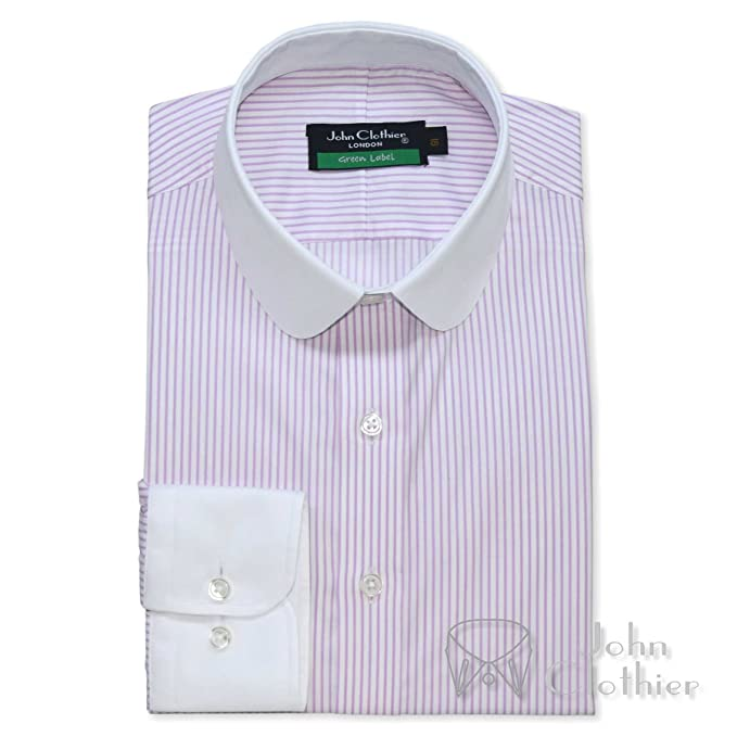 1920s Style Mens Shirts | Peaky Blinders Shirts and Collars Mens Penny Collar Bankers Shirt Lilac Stripes 100% Cotton Round Collar Long Sleeves Single Cuff Gents 500-03 £69.99 AT vintagedancer.com