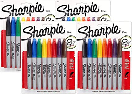 Sharpie Permanent Marker Fine Tip [30217PP] 8 Count (Pack of 4) 32 ...