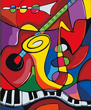 Greek Art Paintworks Paint Color By Number Abstract Music Modern Art 12 Inch By 16 Inch
