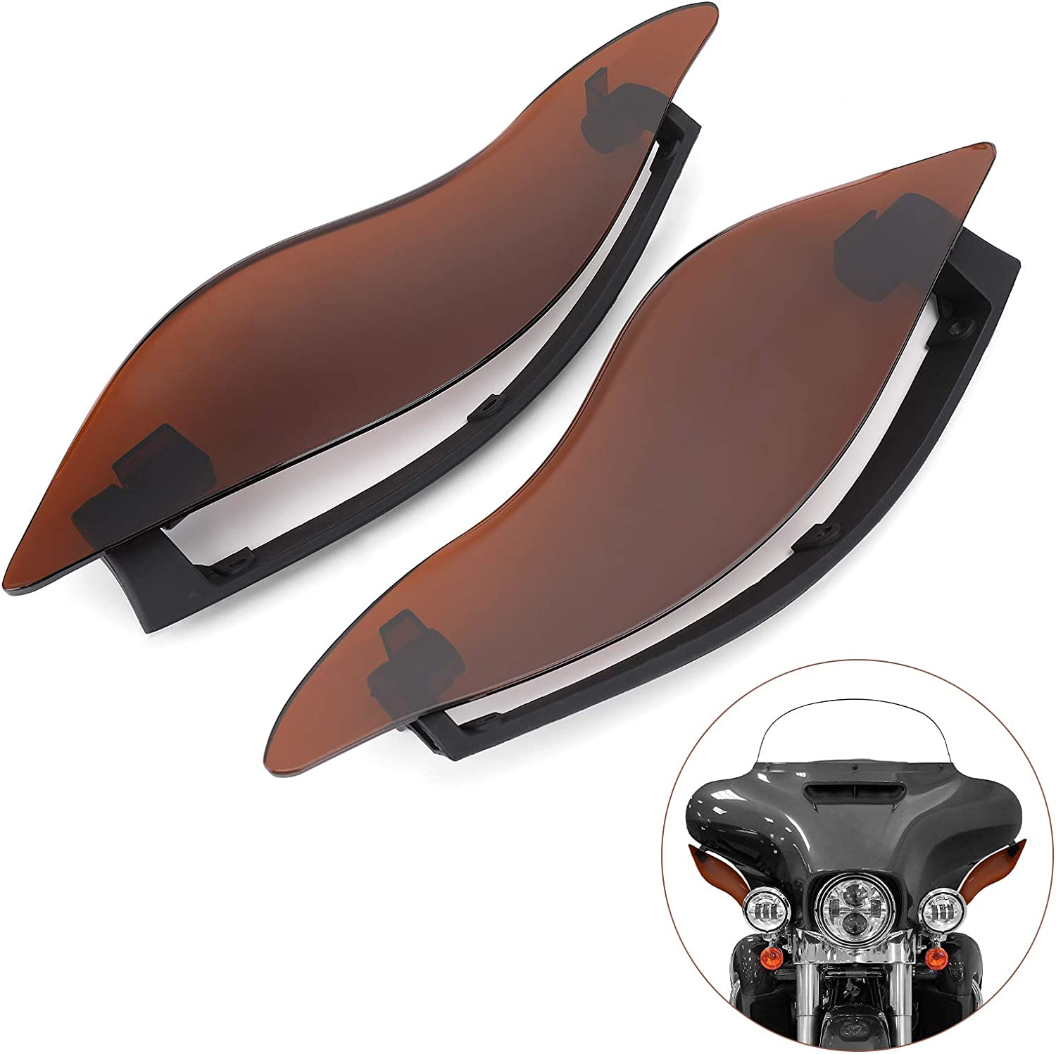 Air Deflectors Side Wings 2 Pcs Adjustable Windshield Fairing Side Cover Shield for 2014-2020 Touring Electra Street Tri Glide CVO Dark Smoke