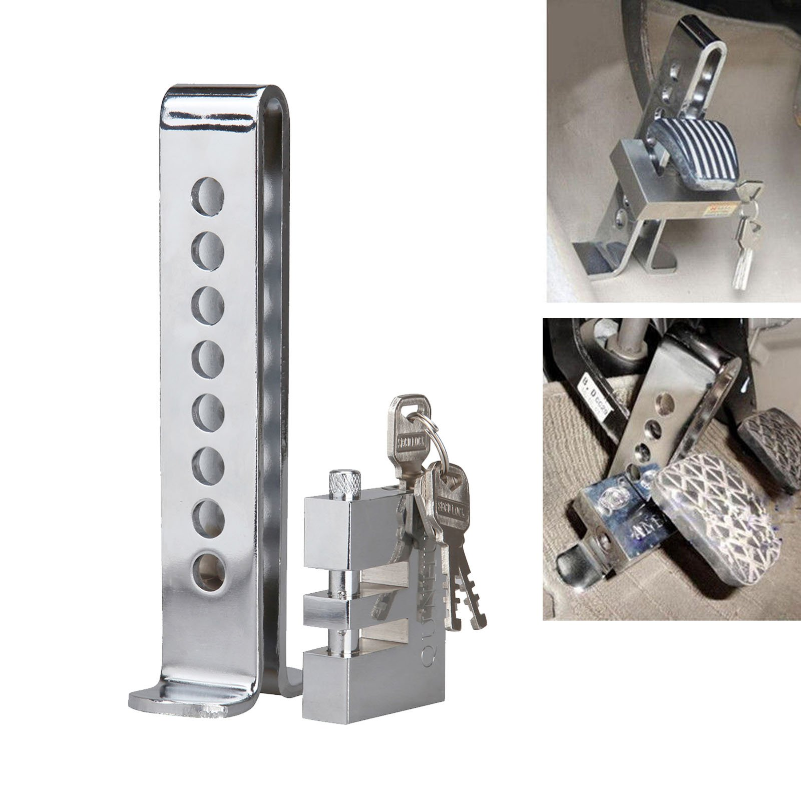 Honhill Universal Auto 8 Holes Pedal Security Tool Anti-Thief Device Stainless Steel Clutch Lock Car Brake Lock by Honhill