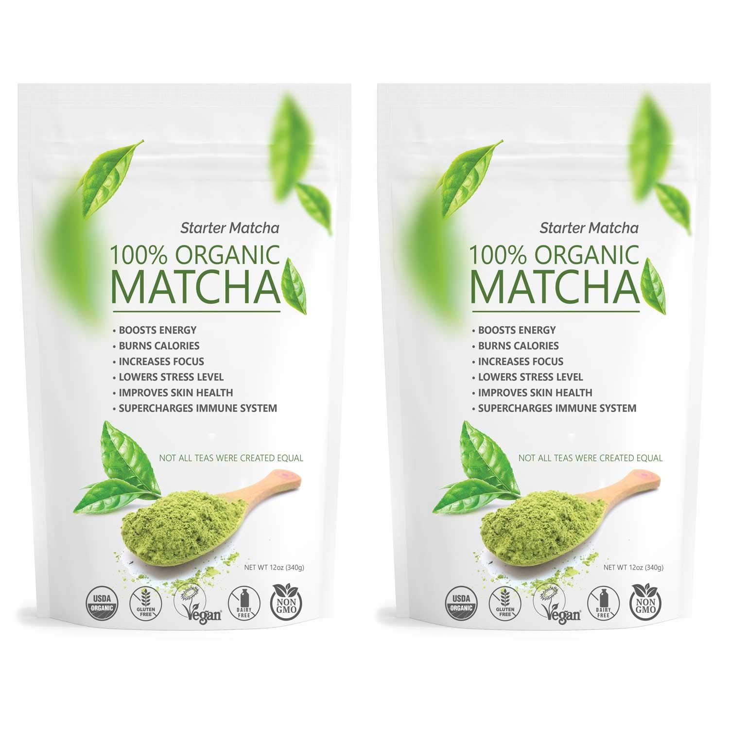 Starter Matcha Set | 2x 12oz | USDA Organic | Non-GMO Certified | Vegan and Gluten-Free | Pure Matcha Green Tea Powder | Grassy Flavor | Mild Natural Bitterness | Autumn-Green color | Matcha Outlet by Matchaccino
