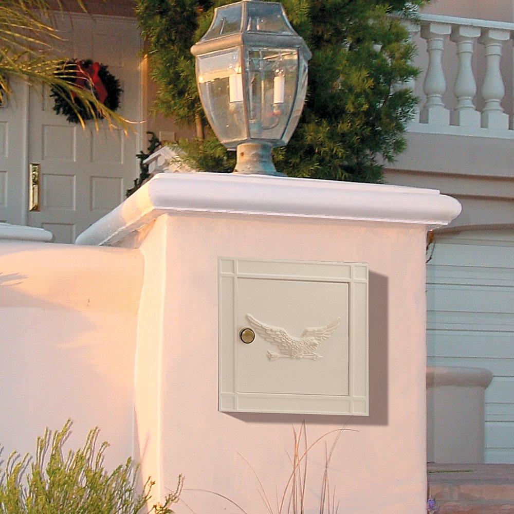 Salsbury Industries 4140E-BGE Cast Aluminum Column Non-Locking Eagle Door Mailbox, Beige