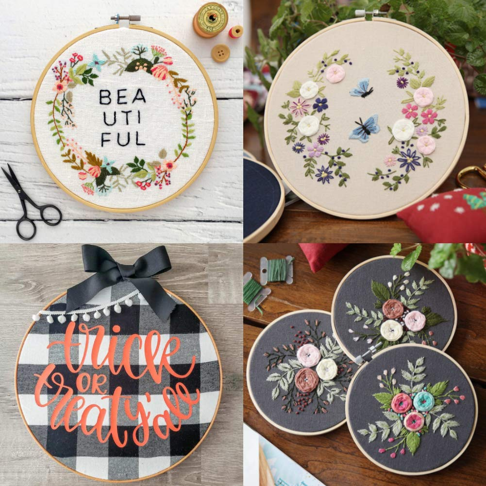 BigOtters 6PCS 6 Sizes Embroidery Hoops, Wooden Round Adjustable for 4.7 inch to 10.6 inch Bamboo Circle Cross Stitch Hoop Rings for Christmas Ornaments Art Craft Handy Sewing DIY Favor