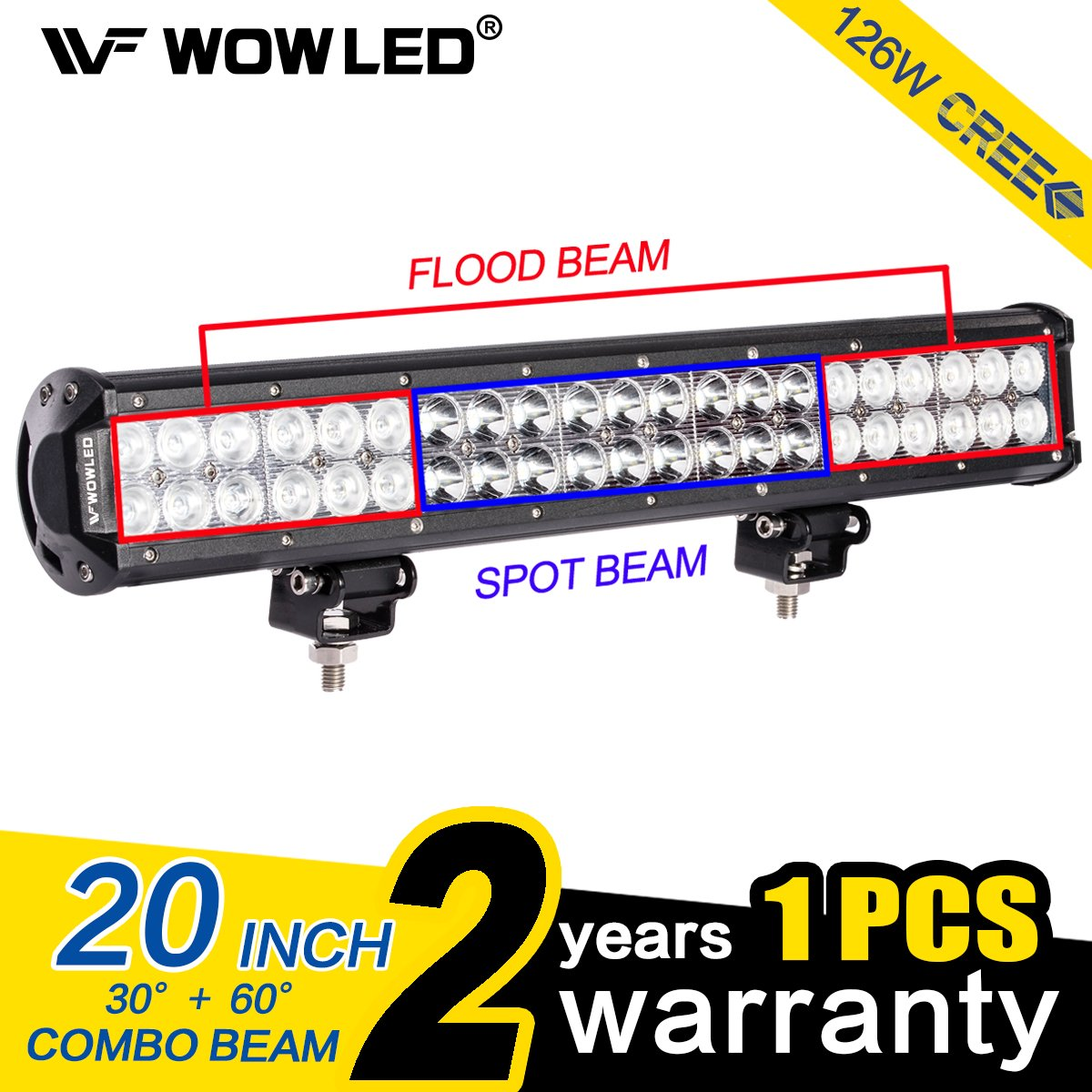 WOWLED 20 Inch 126W CREE LED Spot Flood Combo Work Driving Light Bar  Offroad SUV Truck