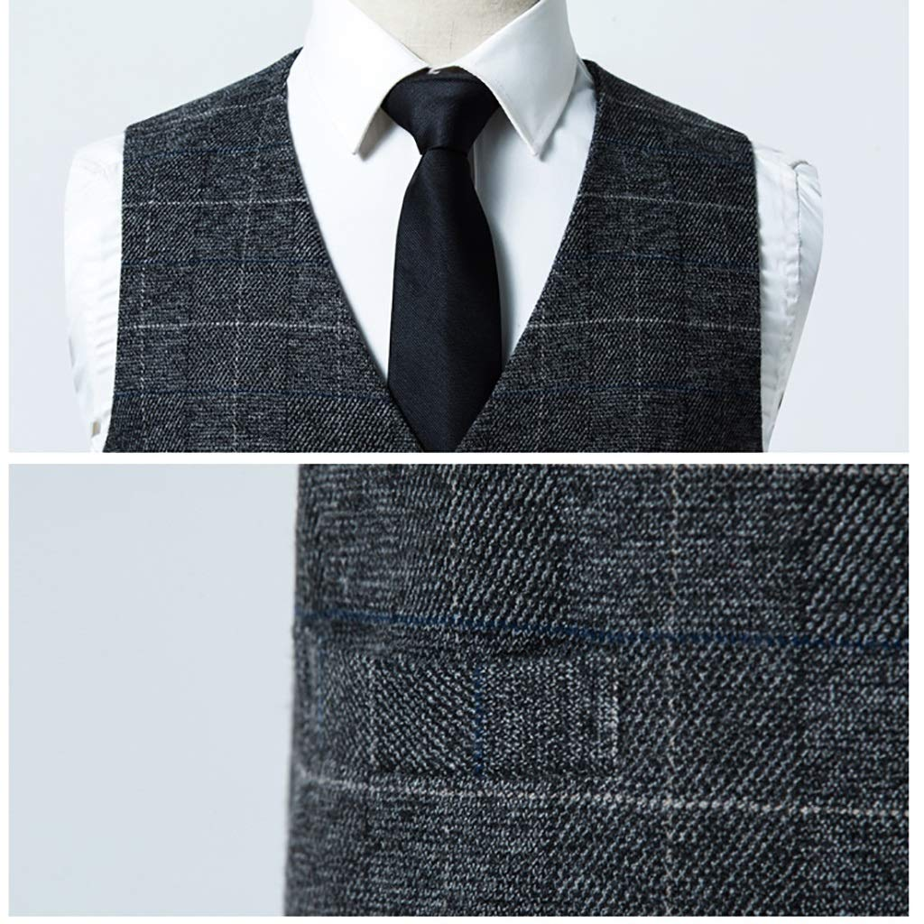 V Neck 5 Button Slim Mens with Pockets Vest Mens Stylish Suit Mens British Style Plaid Size : 170//M