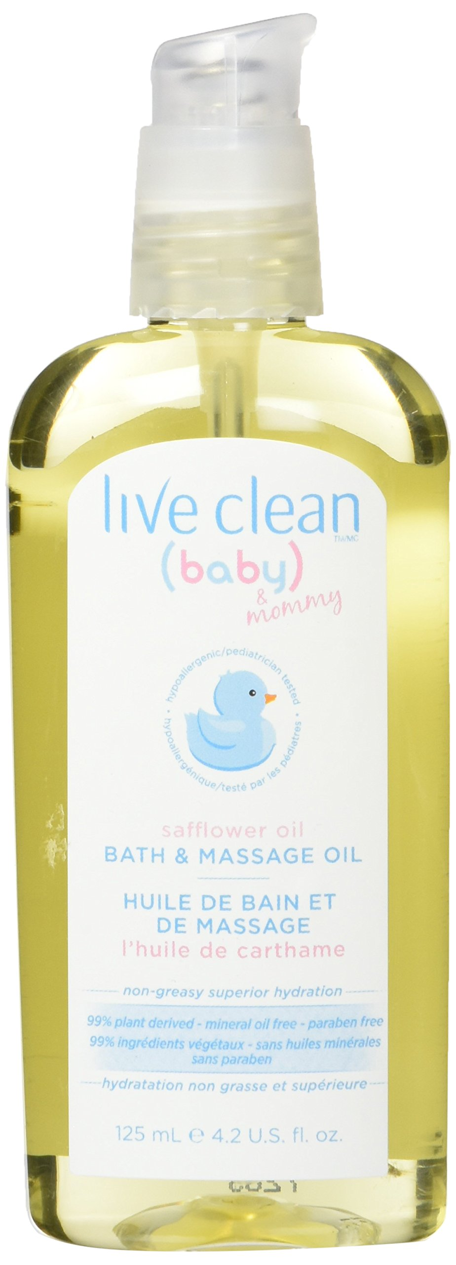 Live Clean Baby & Mommy Organic Safflower Oil Bath and Massage Oil 4.2 fl.oz