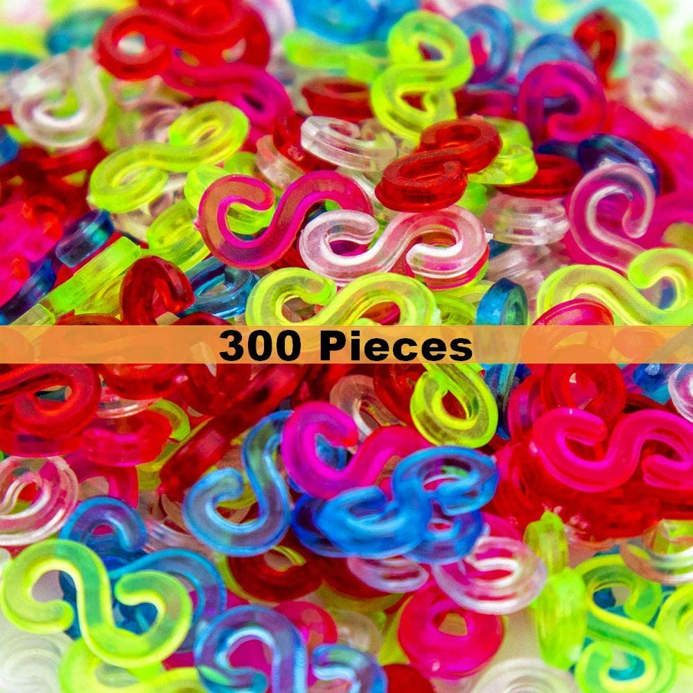 1000 pcs, Colorful Creammuffin S Clips Connectors Rubber Connectors Refills for Loom Rubber Band for DIY Bracelet Making Refill Kit