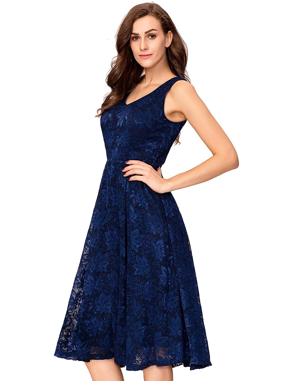 62f2a561b5c Amazon.com  Noctflos Lace V Neck Fit   Flare Midi Cocktail Dress for Women  Party Wedding  Clothing