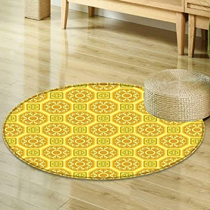 Incroyable Round Area Rug Carpet Yellow Decor Collection Ornate Ethnic Patterns With  Oriental Motifs And Mosaic Shape