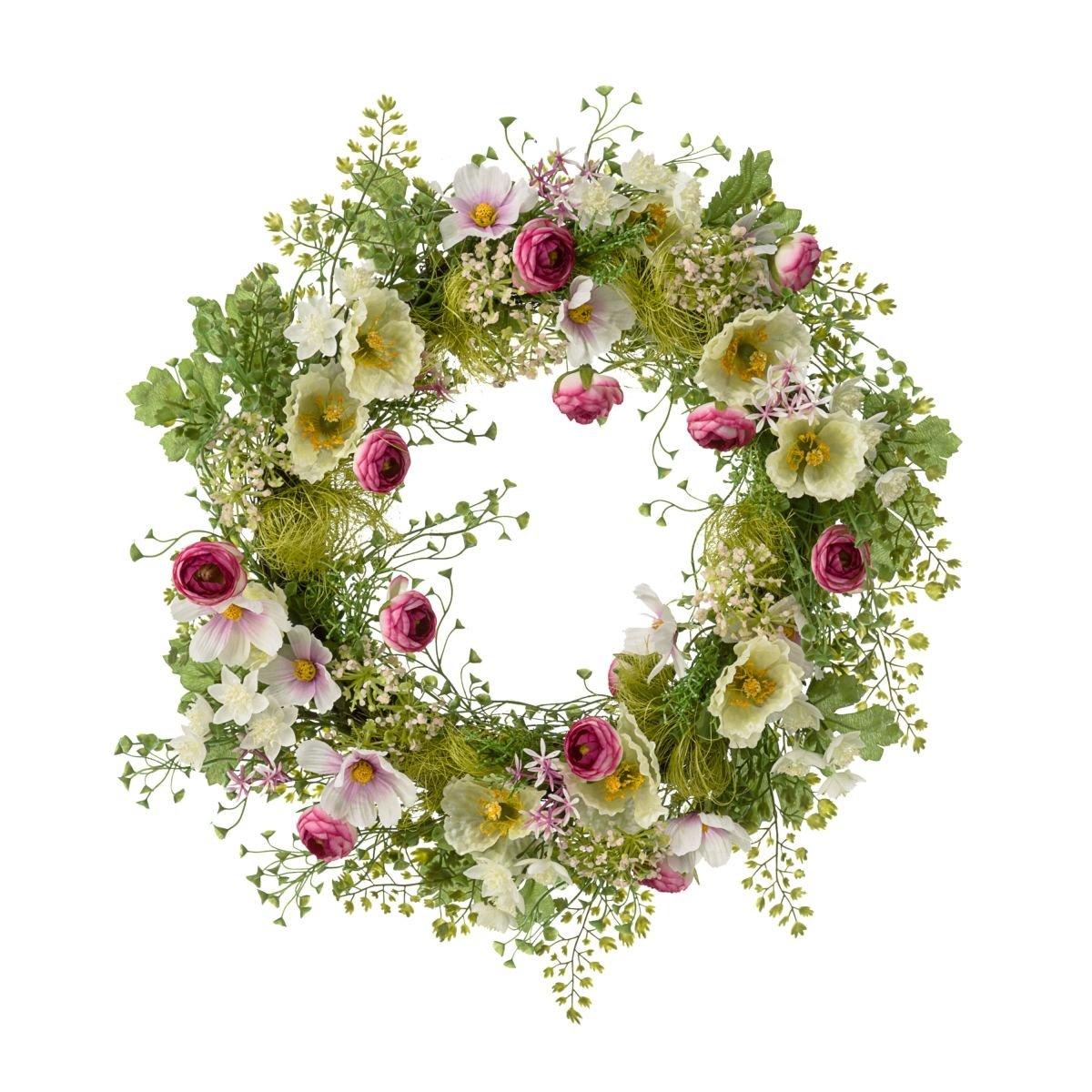 PuROTay Dekokranz Frühlingswiese - Frühlingskranz mit Blüten Blüten Blüten - Grün Rosa - ca. Ø 40 cm dfac88