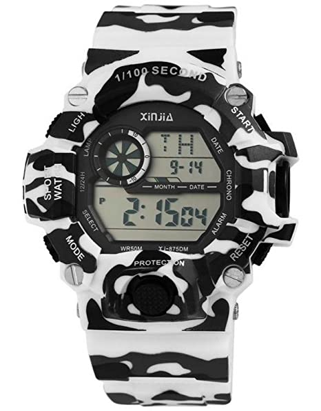 Digital XXL Militar Deportes reloj de pulsera reloj de hombre multifuncional camuflaje Impresión Color Blanco 5 ATM: Amazon.es: Relojes