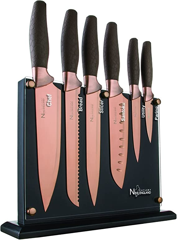 New England Cutlery NE8807 7 Piece Titanium-Coated Knife Set with Invisible Wood Block