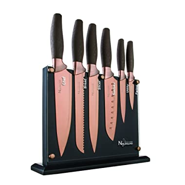New England Cutlery NE8807 7 Piece Titanium-Coated Knife Set with Invisible Wood Block, Bronze (Bronze)