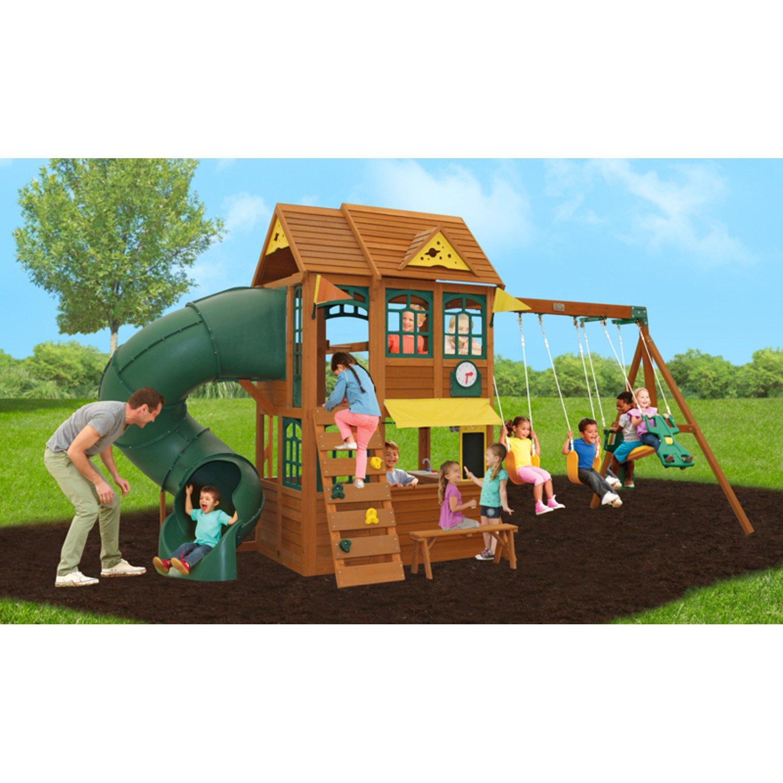 amazon com big backyard summerlin retreat wooden swing set by