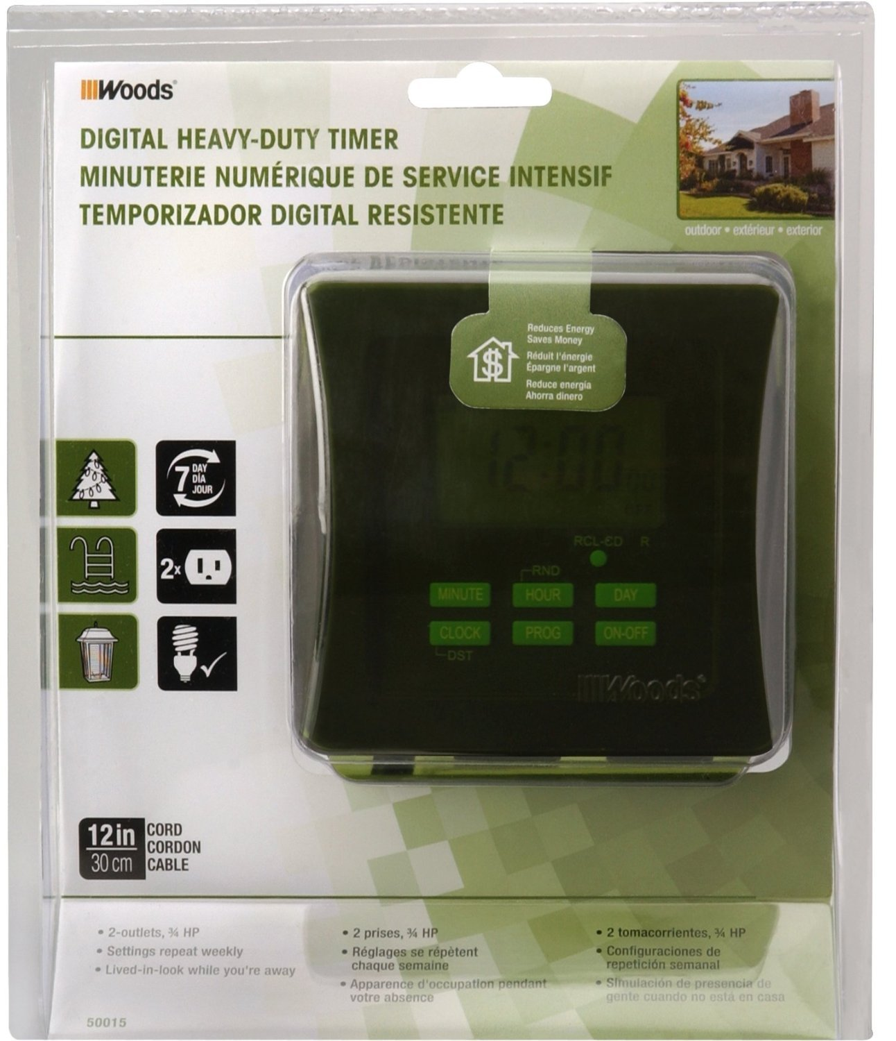 Coleman Cable 50015 6 Pack 7-Day Outdoor Digital Heavy Duty Timer by Woods (Image #3)