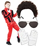 Boys Michael Jackson 80s Fancy Dress Costume with Wig, Glasses & Gloves (4-6 years)
