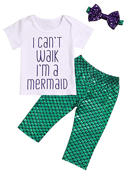 6725a2abf12 Toddler Baby Girl Mermaid Outfits I Can t Walk I m a Mermaid T-Shirt with  Shiny Fish Scale Pant with Headband Set