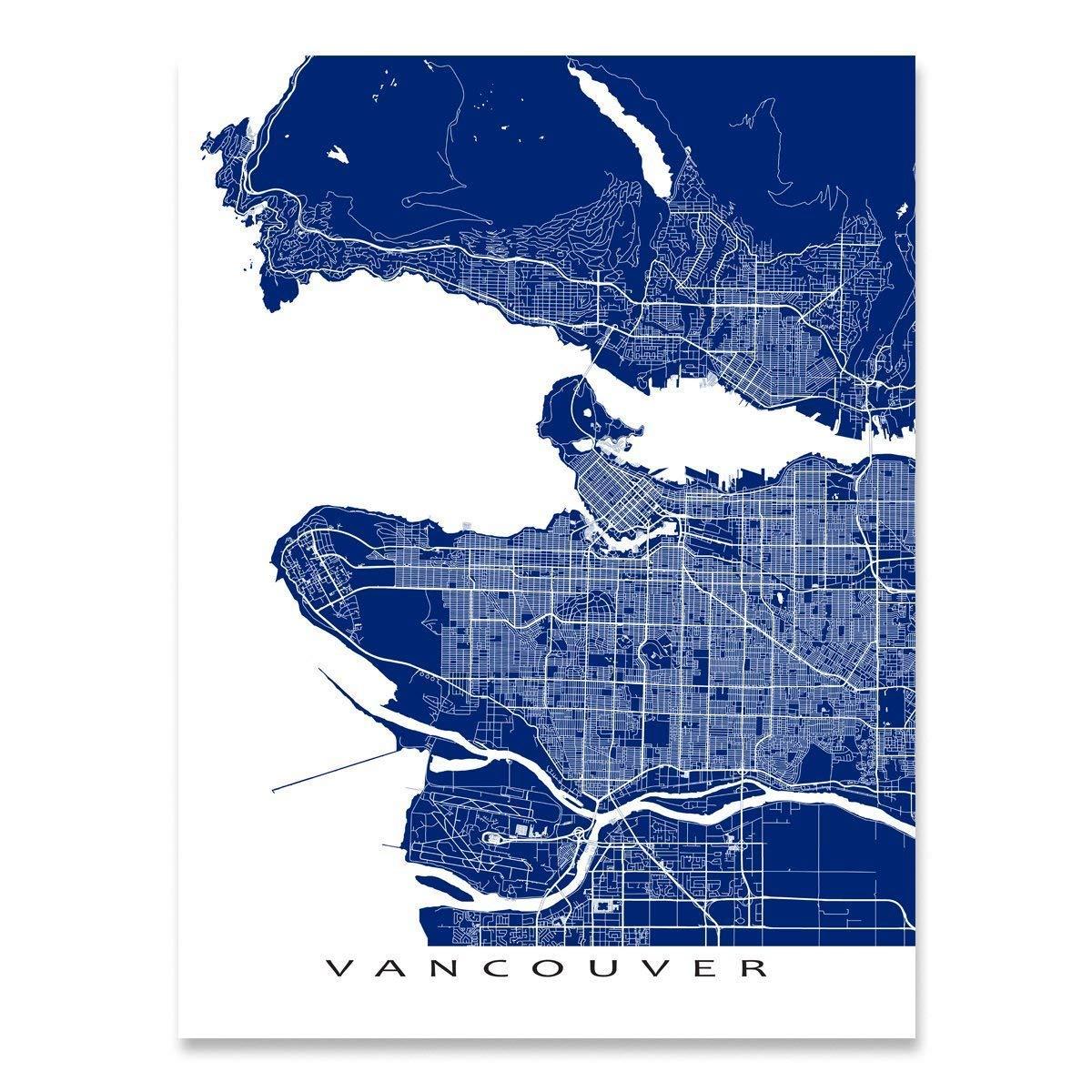 Vancouver Map Print, British Columbia, Canada, City Street Art ...