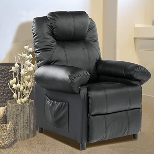 Deal of the week: Kasorix PU Leather Recliner Chair Single Sofa Recliner Living Room Chair Theater Seating Theater Chair wingback Small Recliner Armchair Black-1030
