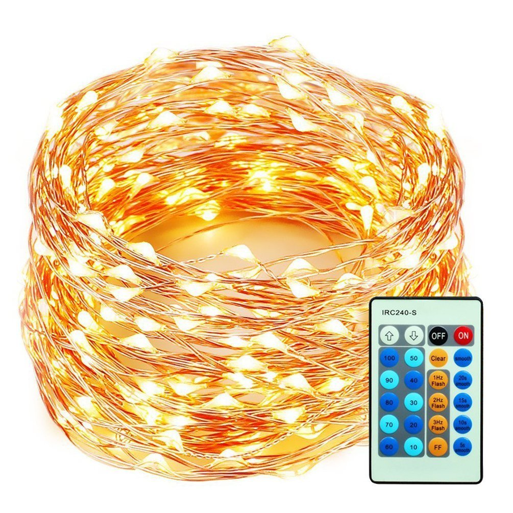 HEI LIANG 99ft/30m 300LEDs String Lights, Copper Wire Lights Waterproof Dimmable Starry Lights with Remote Control for Bedroom, Patio, Garden, Yard, Wedding and Party, Warm White