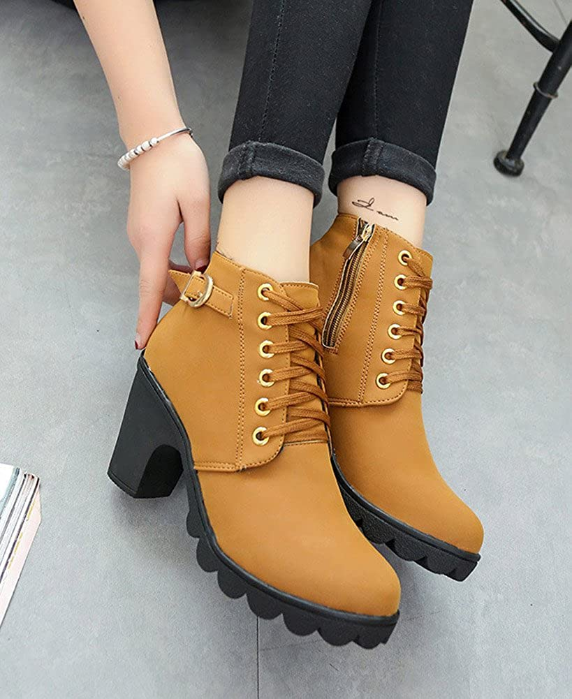 Minetom Mujeres Otoño Invierno Botines Chelsea Moda Tacón Alto Tobillo Botas Señoras Hebilla Plataforma Color Sólido Zapatos