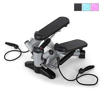Klarfit Powersteps Máquina de step (stepper con 5 intensidades entrenamiento, ordenador digital quema calorias, 2 cintas para ejercicio de brazos, ...