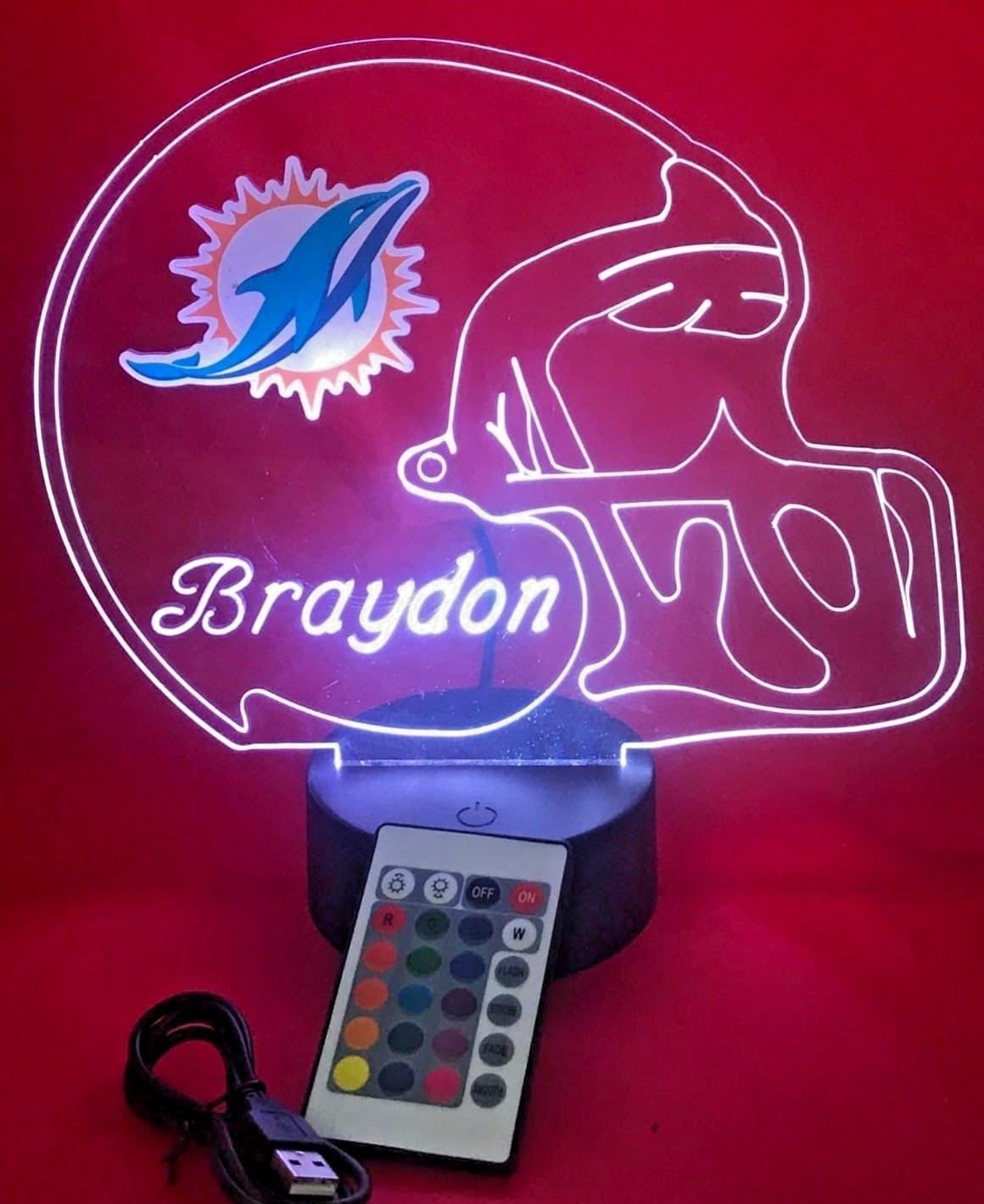 Miami Dolphins NFL Light Up Lamp LED Personalized Free Football Light Up Desk Light Lamp LED Table Lamp, Our Newest Feature – It s WOW, With Remote, 16 Color Options, Dimmer, Free Engraved, Great Gift