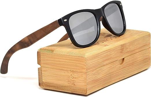 GOWOOD Gafas de sol de madera de nogal para hombre y mujer con frontal negro mate y lentes polarizadas plata de espejo: Amazon.es: Ropa y accesorios