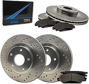 Max Brakes Front & Rear Performance Brake Kit [ Premium Cross Drilled Rotors + Metallic Pads ] TA146823 | Fits: 2009 09 Hyundai Genesis 3.8L Models