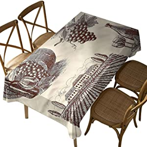 Rectangular Polyester Tablecloth,Winery,Natural Organic Country Wine,Indoor Outdoor Spillproof Tablecloth Table Cover,for Spring Summer Patio Garden Tabletop Decor Oblong 52 x 70 Inch