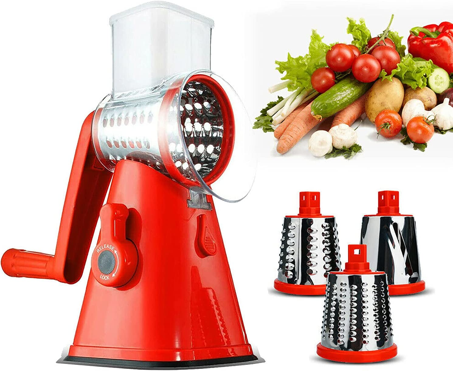 Cheese Grater Mandoline Slicer Vegetable Chopper with 3 Interchangeable Blades for Fruit,Vegetables,Nuts with Strong Suction Base and Cleaning Brush,Red