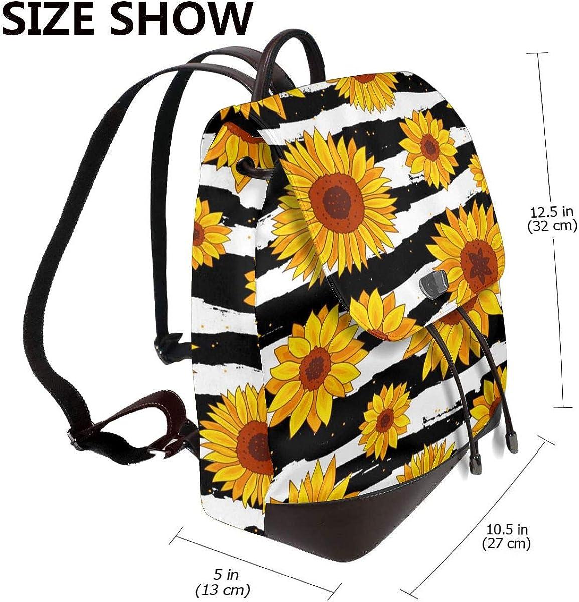 Sunflowers Sac à dos en cuir véritable pour femme Motif tournesols Noir Blanc Fond Noir Blanc Tournesols