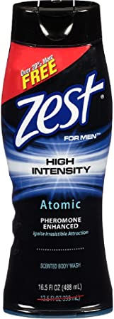 Zest For Men High Intensity Body Wash, Atomic 16.5 oz Pack of 8