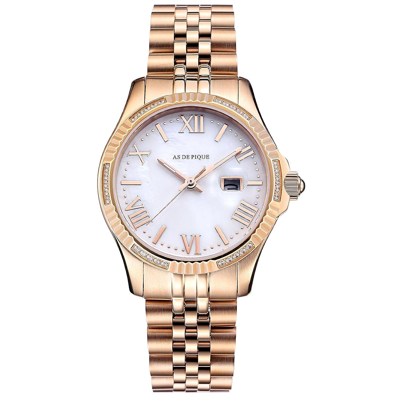 AS DE PIQUE Queen Armbanduhr schimmerndes Pearl Ziffernblatt rosegold