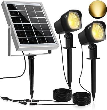 Solar Proyector LED CLY,300LM Luz del Jardín,2 * 1.5W Luz Solar de Blanco Cálido,Impermeable IP66 Foco Solar Exterior con Dos Bombilla para Jardín,Césped,Patio,Camino,Corredor: Amazon.es: Iluminación