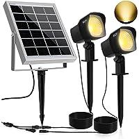 Solar Proyector LED CLY,300LM Luz del Jardín,2 * 1.5W Luz Solar de Blanco Cálido,Impermeable IP66 Foco Solar Exterior…