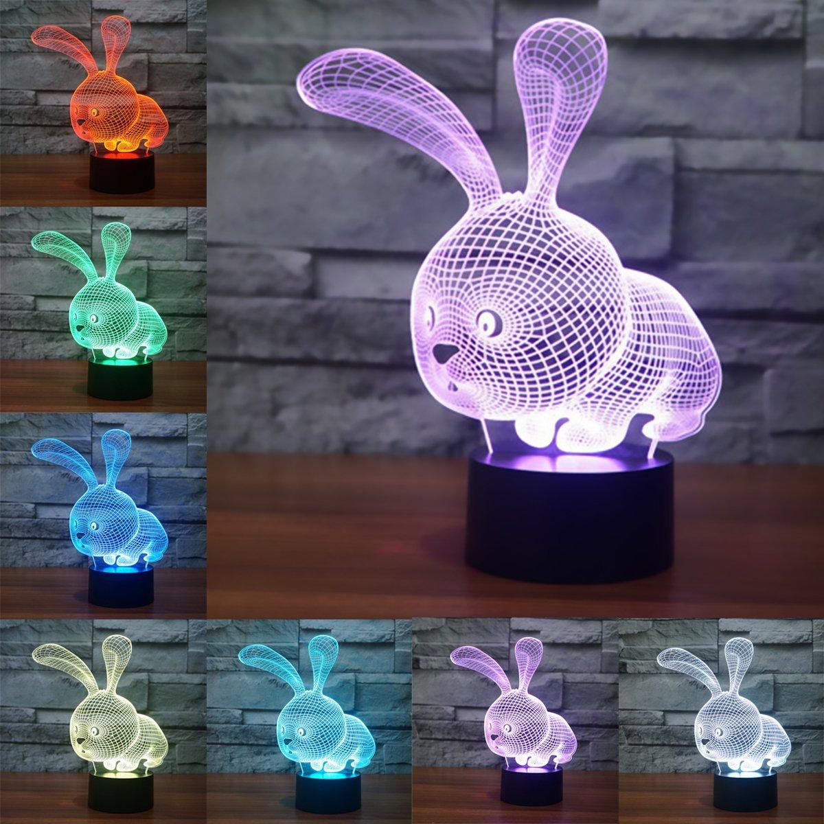 LSMY Veilleuse Lampe de V/élo Lumi/ère de Nuit avec C/âble USB et 7 Couleurs D/écoration pour Enfant Chambre Chevet Table de B/éb/é Enfant Cadeau De No/ël F/ête Anniversaire 3D LED Lampe dillusion Optique