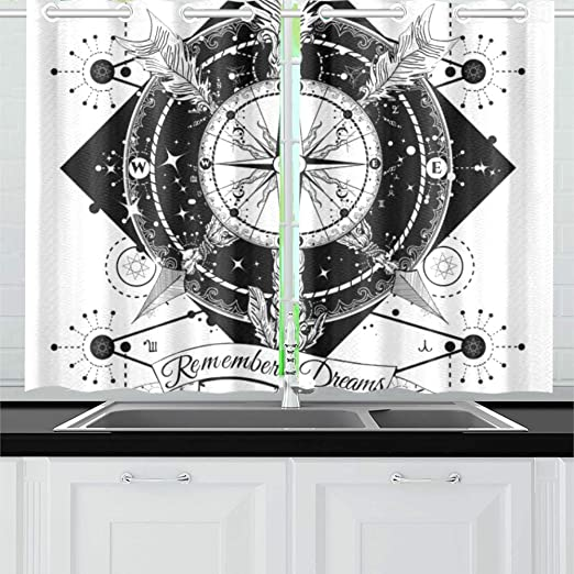 JINCAII Rose Compass Flechas Cruzadas Tatuaje Boho Cortinas de ...