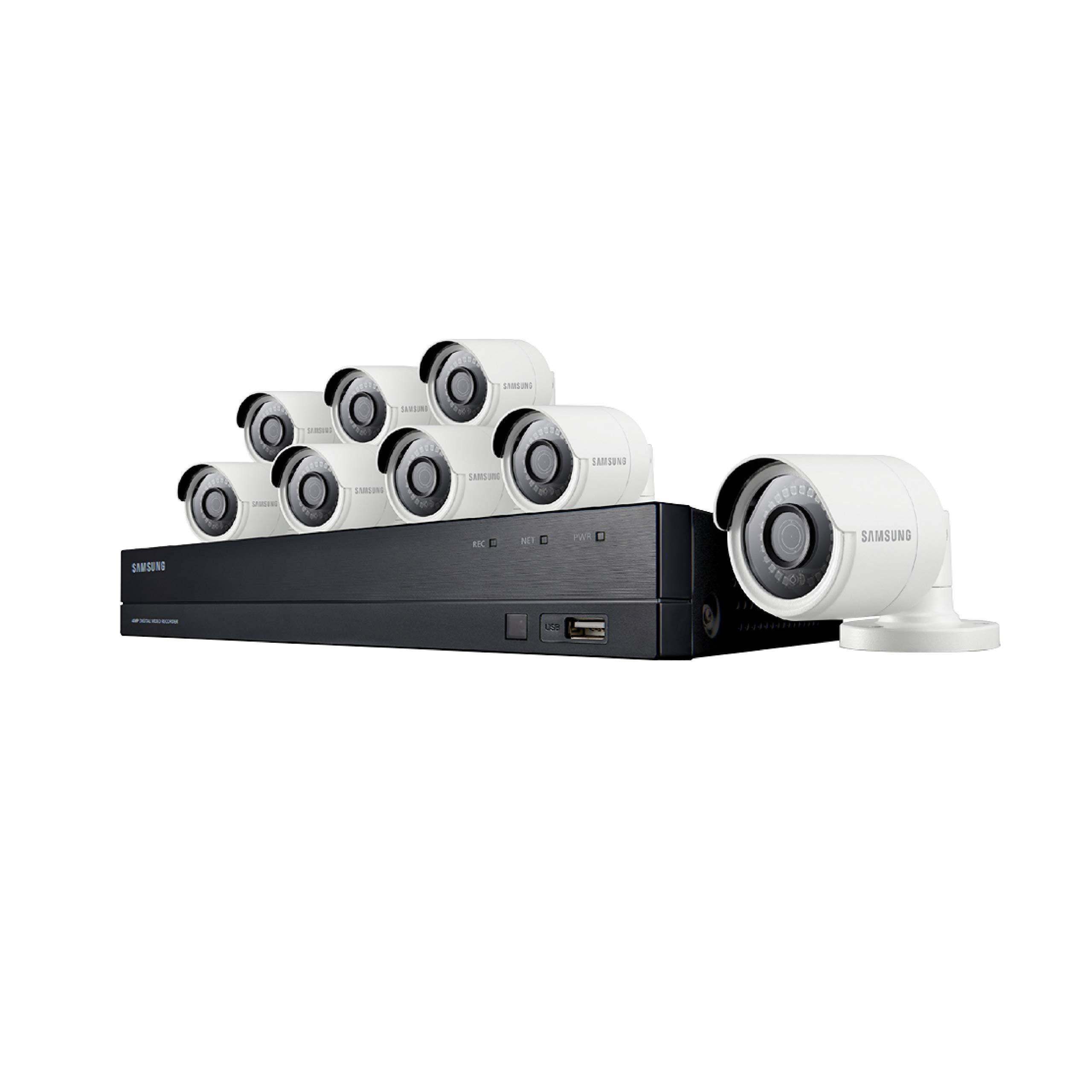 SDH-C84080BF - Samsung Wisenet All-in-One 8 Channel 4 MP Security System with 2TB Hard Drive, 8 Super HD Bullet Cameras, and 82' Night Vision by Samsung