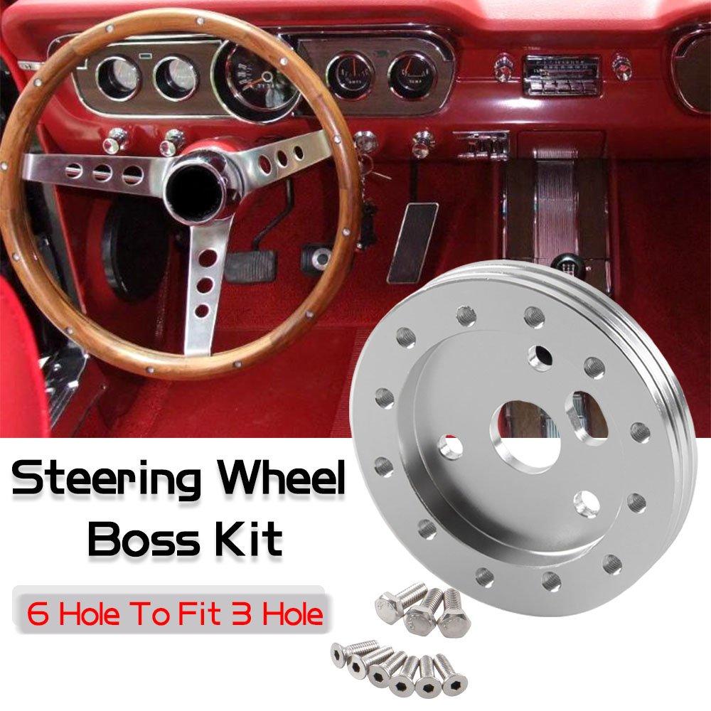 Ruien 0.5' Steering Wheel Hub Adapter Conversion Spacer 6 Hole to 3 Hole Steering Wheel Adapter Grant Adapter Boss Kit Black
