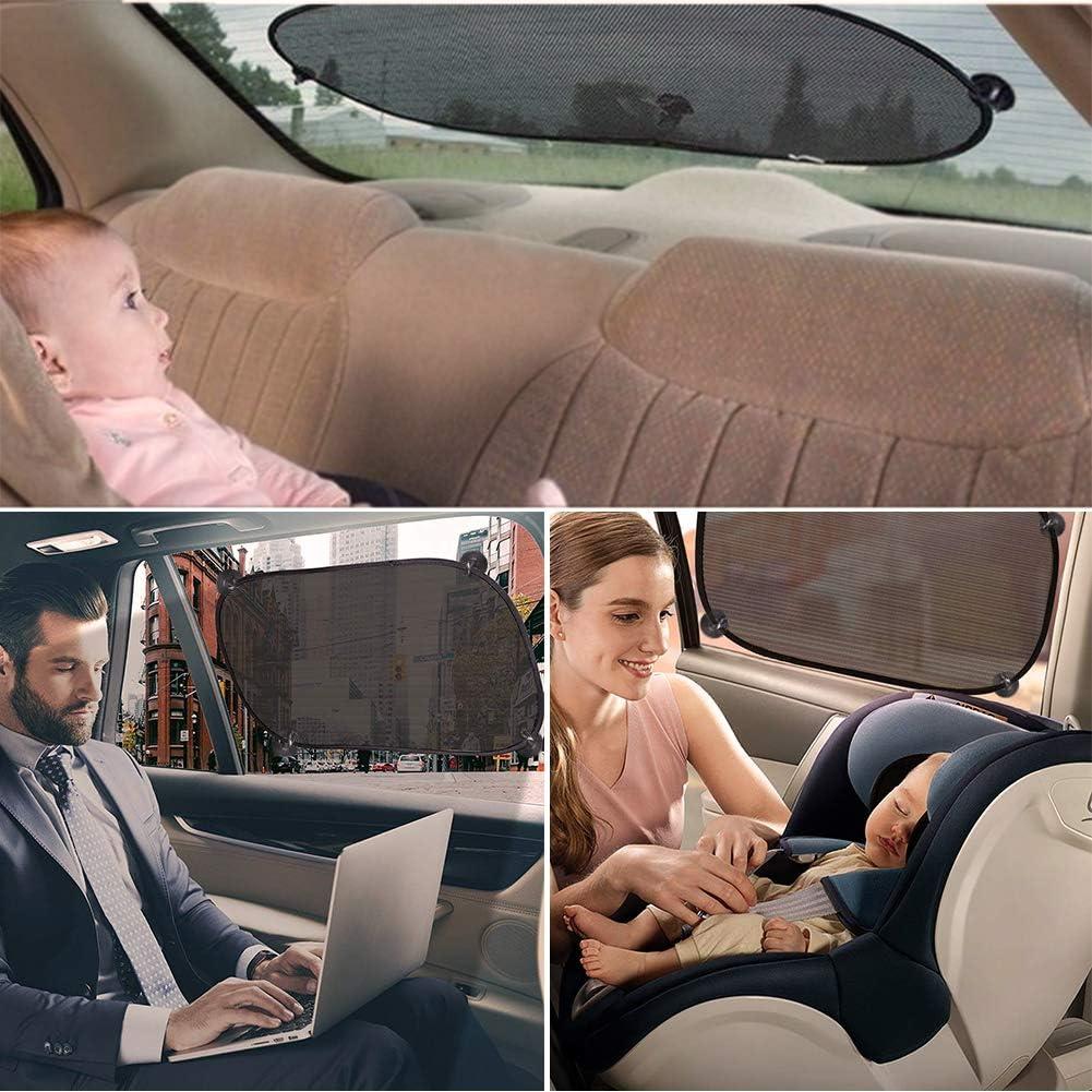 Sonnenschutz Auto Baby Sonnenblende Kinder mit UV-Schutz f/ür Heckscheiben und Seitenscheiben Saugnapf Aufbewahrungstasche Universell Geeignet f/ür Autos und SUVs Schwarz 5 St/ück