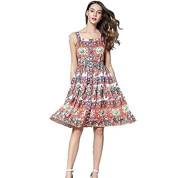 JUWOJIA Pasarela De La Moda Más Reciente Estilo Romántico Rosas Flores Impresas Vestidos Fiesta Vestidos Tira