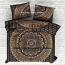 Black Gold Ombre Mandala Comforter Cover Queen Bedding Throw Indian Duvet Cover & Pillow Case Bohemian Throw By Handicraftspalace