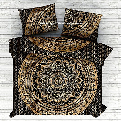 Black Gold Ombre Mandala Comforter Cover Queen Bedding Throw
