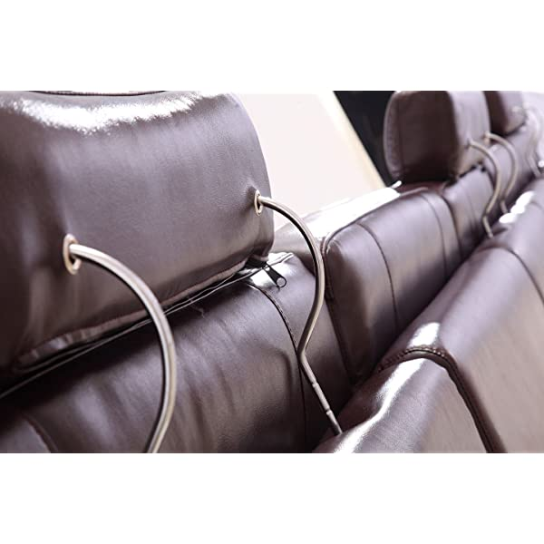 ESF Modern 2144 Brown Italian Leather Sectional Sofa W/Recliner Contemporary Style