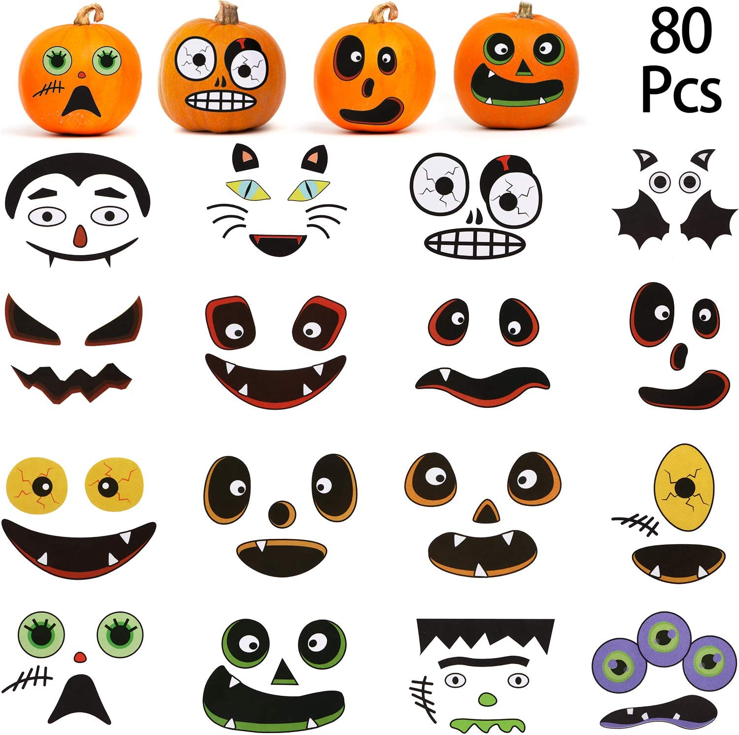 80 Sets Halloween Pumpkin Craft Stickers Pumpkin Face Stickers Trick Or Treat Stickers For Halloween For Halloween Party Decoration Favor 20 Sheets Toys Games