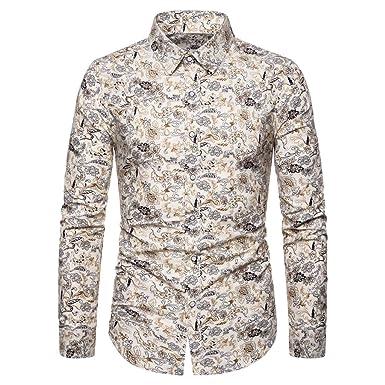 Camisas de Vestir para Hombre con Botones y Manga Larga - Amarillo ...