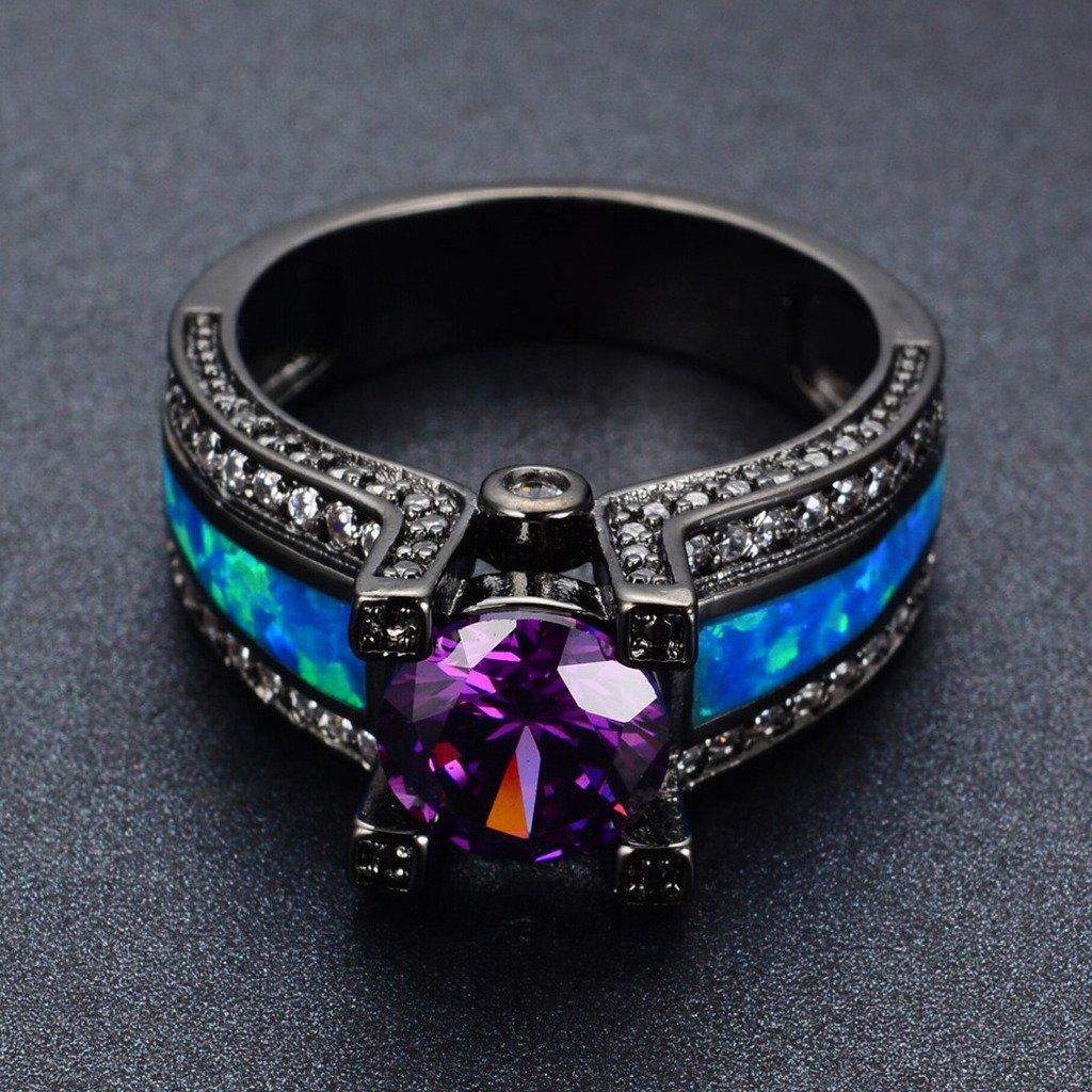 Amazon.com: JW Collection azul Opal hembra de amatista ronda ...
