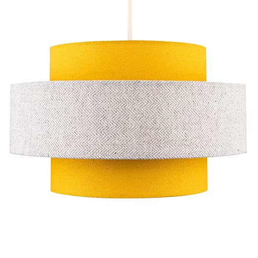 Modern Cylinder Ceiling Pendant Light Shade in a Mustard   Grey Herringbone  Finish  Amazon.co.uk  Lighting 74383d5a0